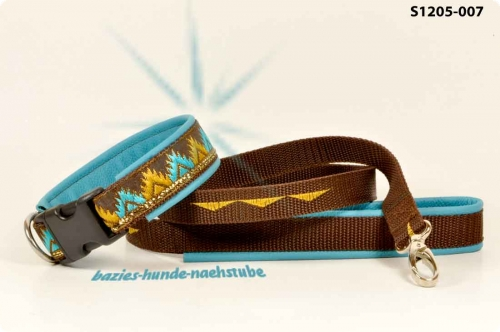 "Set  Halsband + Leine Design ""Zack brown"""