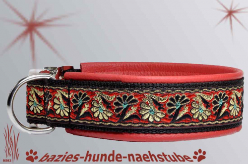 "Halsband ""Twining Daisy Red Teal"""