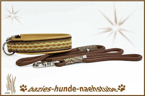 "Set - Halsband + Tauleine Design ""Fluted ZigZag coffee"""