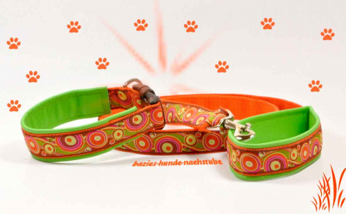 "Set > Halsband + Leine Design ""Circles & Waves orange"""