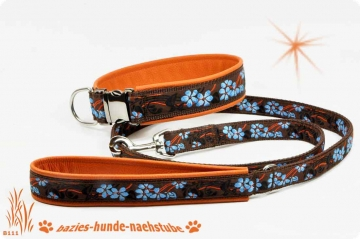 "Set  Halsband + Leine Design ""Blue Flowers"""