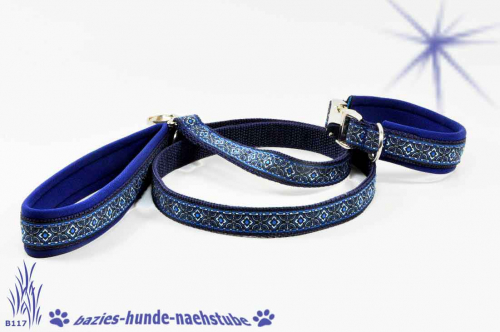 "Set  Halsband + Leine Design ""Diamant blau"""