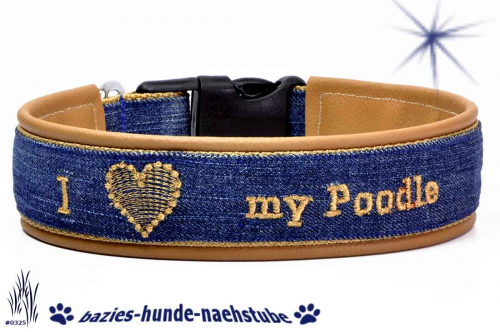 "Halsband bestickt ""I Love my poodle"""